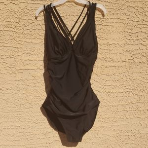 Merona Knotted Strappy Back One Piece Swimsuit